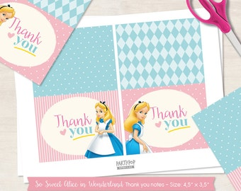 INSTANT DOWNLOAD Pink Alice in Wonderland thank you notes