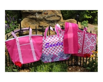 SALE While they Last-----LARGE Monogrammed Tote Bag/ Beach Bag /Great Gift Idea / Diaper/ Extra Large Bag!