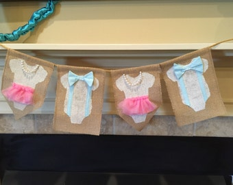 Gender Reveal, Bow Tie and Pearls Burlap, Banner Decoration, Gender reveal party, bow tie and tutu, gender reveal banner