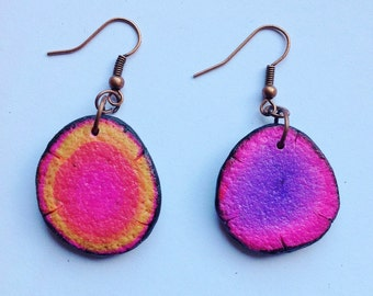Polymer clay, earrings, unique handmade