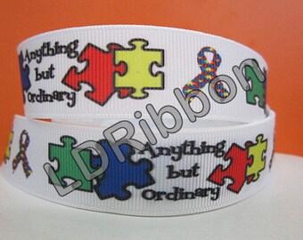 """7/8"""" Autism Awareness Grosgrain Ribbon"""