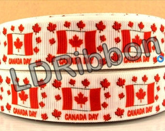 "7/8"" Canada Day Grosgrain Ribbon"