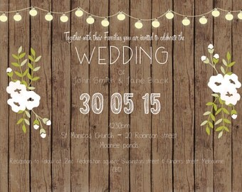 Dark Wood RSVP, Wedding Invite and Save the Date pack