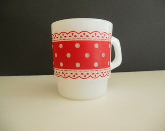 Fire King Milk Glass Dots and Lace Mug