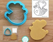 Happy Bee Cookie Cutter and Fondant Cutter  - **Guideline Sketch to Print Below**