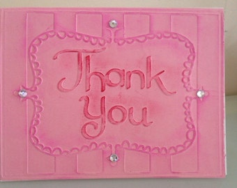 Thank You Card with pink or silver embossed paper