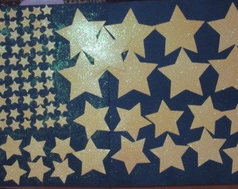 117 Yellow-Gold Glitter Star die cuts, assorted sizes