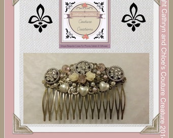 Bridal Hair comb with Vintage style diamante buttons and pearls on bronze filigree alloy comb