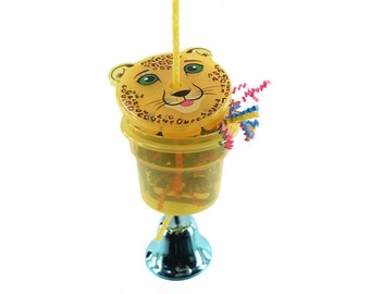 Animal Character Foraging Toy for Birds - Foraging bucket with lid Choose your Animal Small Medium Pet Bird Parrot Toy Treat Cup