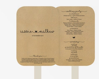 Wedding Fan Program Template, wedding ceremony program  | Instant Download  | Printable | DYI | Minimalistic Kraft