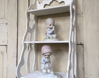 Antique Wooden Curio Shelf with Filagreed Sides, Cottage Chic painted in White
