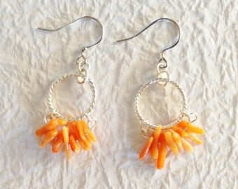 Orange coral earrings, Beach jewelry