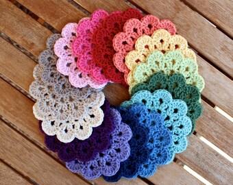 Crochet Cotton Coasters. 10 petal flower, single colour set.