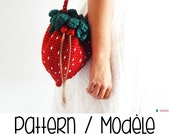 Strawberry crochet bag and purse pattern - DIY  fruity fashion accessory - English and French