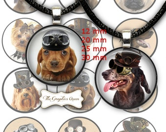Steampunk Dogs 1 inch Digital Collage Circles Round Images for Bottle Caps Instant Download Steampunk Jewelry Necklace