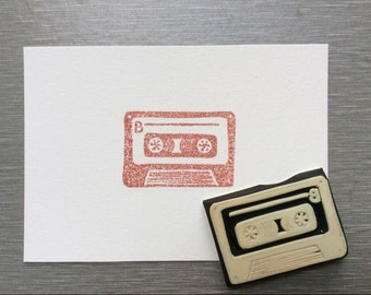tape stamp.rubber stamp. hand carved stamp. mounted