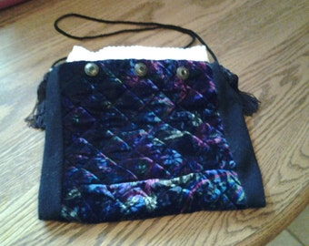 recycled quilted velour notepad holder or shoulder bag