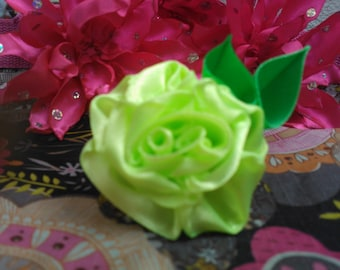 Handmade. Satin Roses. 3 pcs. Sew on flowers appliques. Limited quantity. (2606)