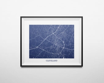 Cleveland, Tennessee Street Abstract Street Map Print