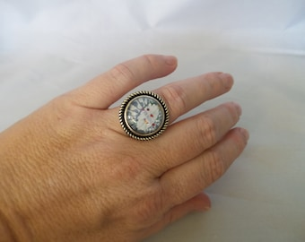 Photo Ring, Imagine @ Strawberry Fields adjustable Ring, Photography,Glass Wearable art, Silver finish,16mm Rope Vintage Style,Fashion Ring