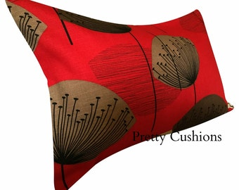Sanderson Dandelion Clocks Red Bolster Cushion Cover