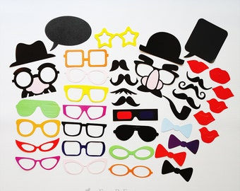 40PCS DIY Photobooth Props, Party Props, Wedding Photo Booth Props, Party Game Decorations Party Supplies Masks Glasses Mustache