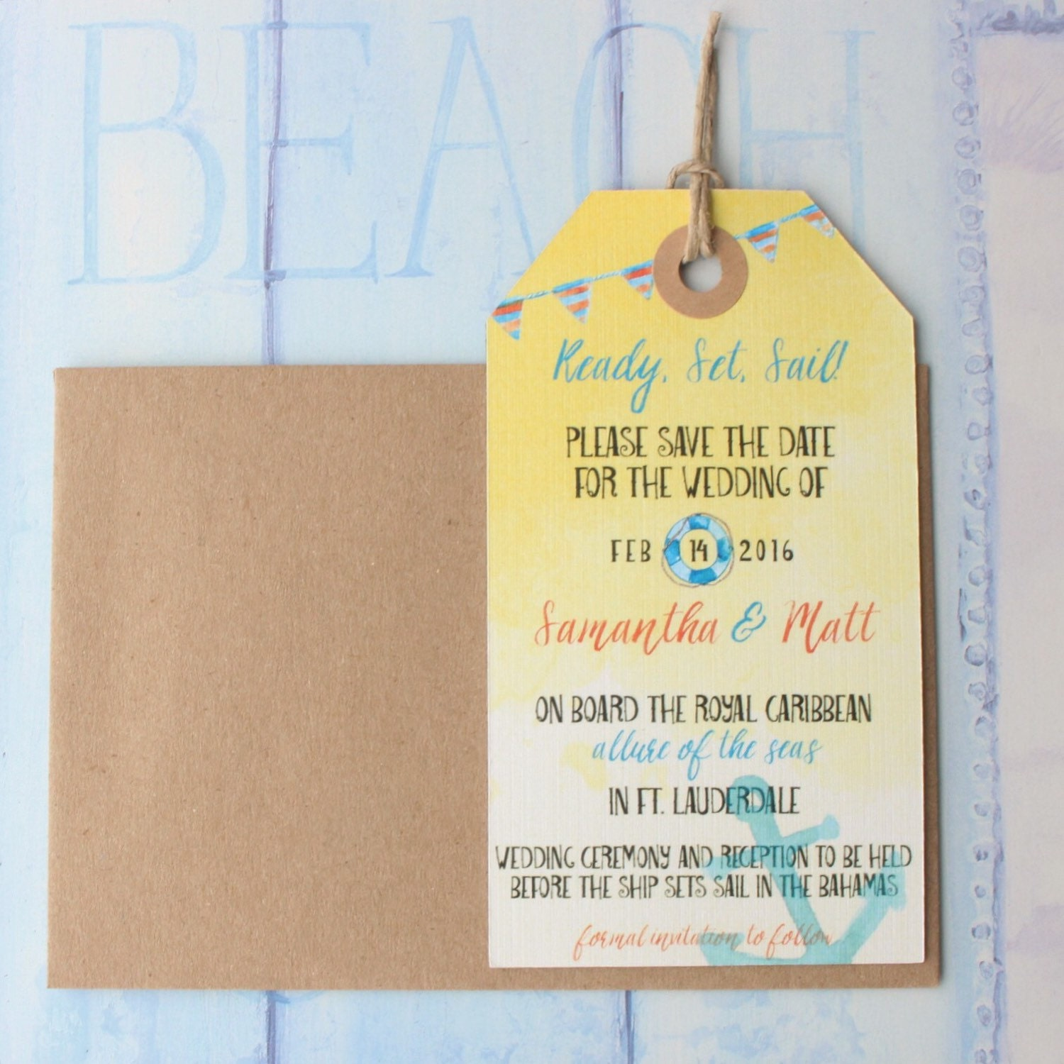 Wedding Invitation Save The Date Luggage Tag Magnet Nautical