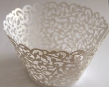 12 pcs Beautiful White Lace Wedding Filigree Cupcake Liners Liner Baking Cup Cupcake Wrapper Wrappers