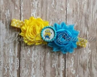 Minion elastic headband with shabby  flowers infant, toddler, or adult sizes