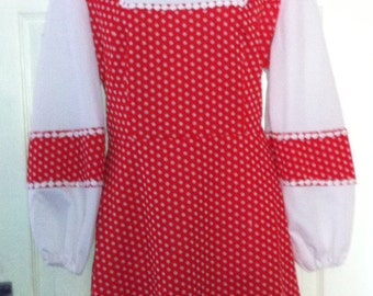 Fab Red and White Spot Vintage 60's Dress Size 16/18