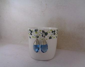 Sale - Handmade London Blue Topaz Wrapped Earrings