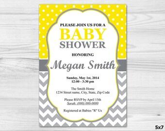 Grey & Yellow Baby Shower Invitation - DIY Printable Custom Invitation: baby girl, baby boy, yellow, chevron, grey, white, polka dot
