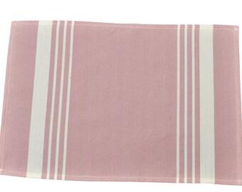 Set table 52X40cm cloth striped 100% cotton Pastel lilac