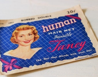 Vintage 1940s 1950s Hair Net / Taney Human Hair Net / Grey Hair Net / Bobbled Double