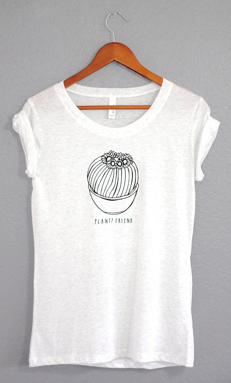 White Women S Plant T Shirt Cactus Tee Plants Are