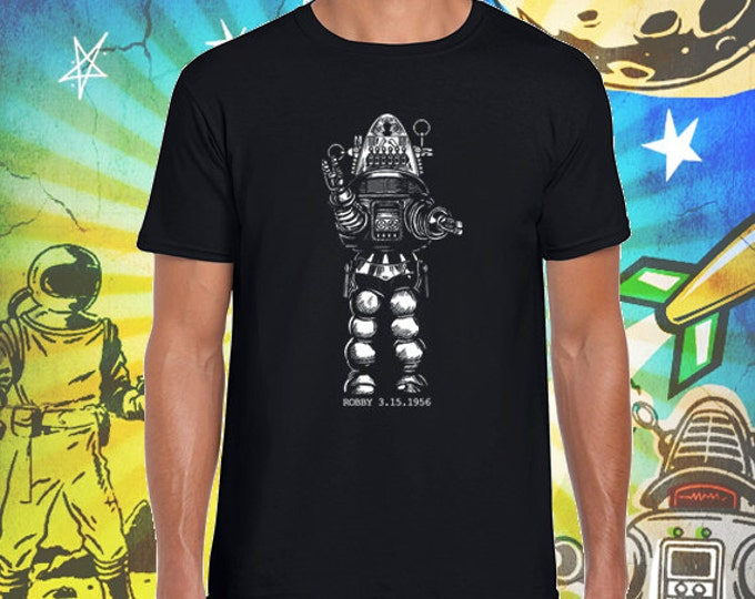 Robby the Robot Men's Jet Black 100% Ring Spun Cotton T-Shirt