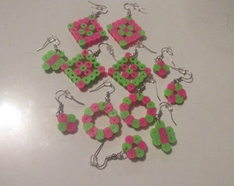 Pink and Green Earrings Set