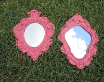Two Pink Hand Painted Wall Mirrors / shabby chic / Pink / Wall Decor