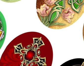 Digital Collage Sheet Сeltic Сross 30x40 mm oval images for scrapbooking pendants Original  Printable 4x6 inch sheet