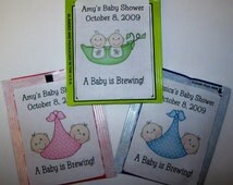 30 TWINS Baby Shower Favors Tea Bag Labels ~ FREE SHIPPING