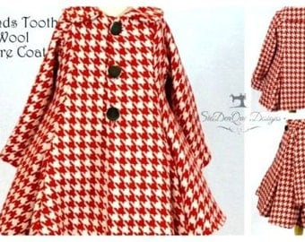 Red & White Hounds Tooth Flare Coat