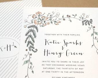 Wedding Invitation Set with RSVP | Printable DIY | Woodsy, Hand drawn, Calligraphy, Romantic