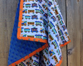 Train baby blanket - Flannel baby blanket - Baby boy trains blanket - Baby minky blanket