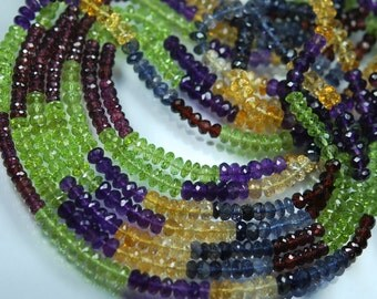 14 Inches, AAA Super Finest Quality, Mixed 5 Stones Rondelles, Peridot, Citrine, Iolite, Garnet, Amethyst Mixed Rondelles, Size 5mm