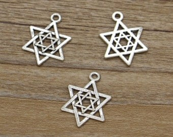 20pcs Star of David Charms Antique Silver Tone Findings Jewelry Making 22x16mm 781
