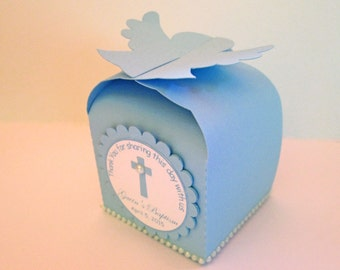 Personalized Blue Baptism Favor Boxes, First Communion Confirmation, Christening, Baptism Decoration, Baptism Favor Bags, Baptism Favors