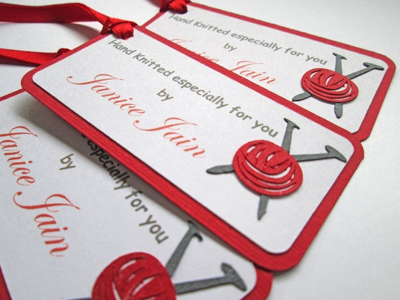 Knitting Labels Hand Knit By : Knitting gift tags hand knitted by labels