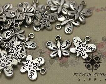 Tibetan Silver Butterfly Charm Pendant Created For You - QTY 10,  25 or 50 - 6030901