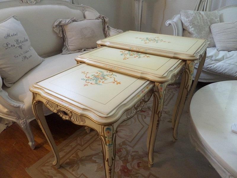 Shabby Chic Nesting Tables ~ Vintage french painted italian florentine venetian nesting