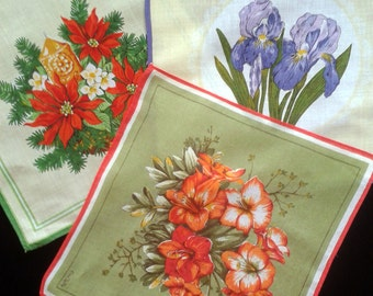 Vintage cotton floral Handkerchiefs EmJoPe set of three